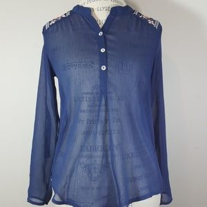 About a girl sheer blue blouse